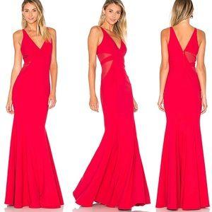 Red mesh cutouts cut outs mermaid formal dress